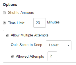 quiz options settings